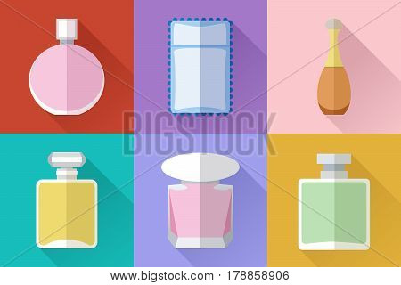 Set of simple perfumery flat icons with long shadows on color square background vector illustration