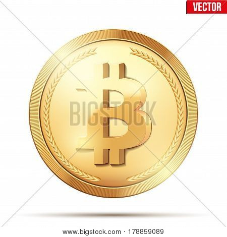 Golden coin with bitcoin sign. Money and finance symbol. Vector Illustration isolated on white background.