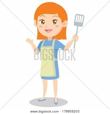 Character of housewife cooking design vector art