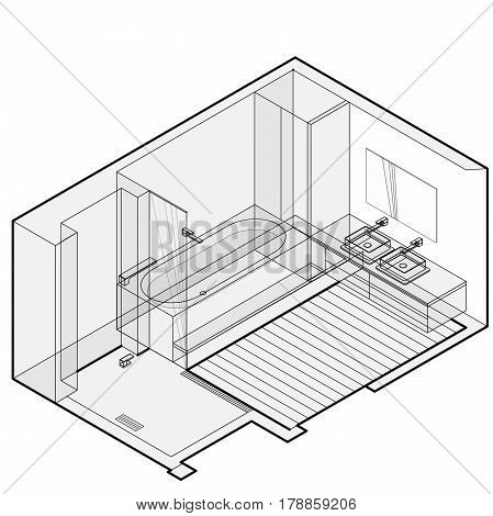Modern bathroom with wooden floor in isometric perspective. Outlined shower enclosure with sliding glass door. Bathtub filled with water. Bathroom sinks with mirror. Vector sanitary washroom equipment