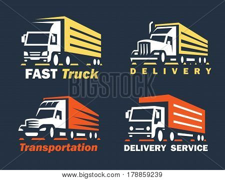 emblem transportation silhouette vector on blue background