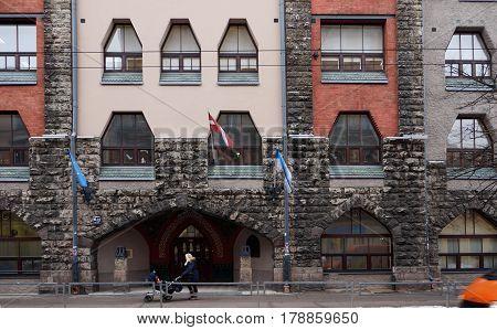 Riga, Terbatas 15-17, architect Constantin Peckshens, Art Nouveau elements of the facade.