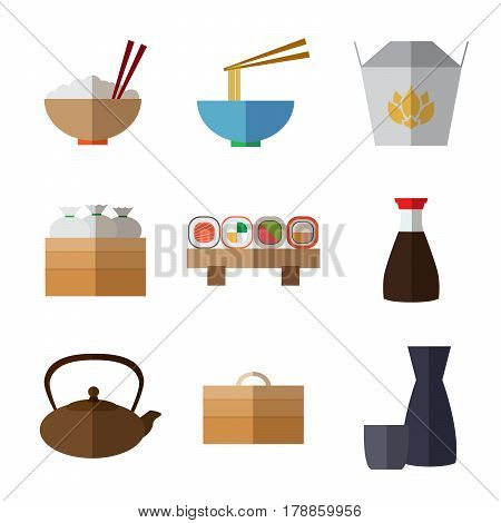 Set of simple flat asian food and equipment  icons with long shadows on white background vector illustration. Wok flat