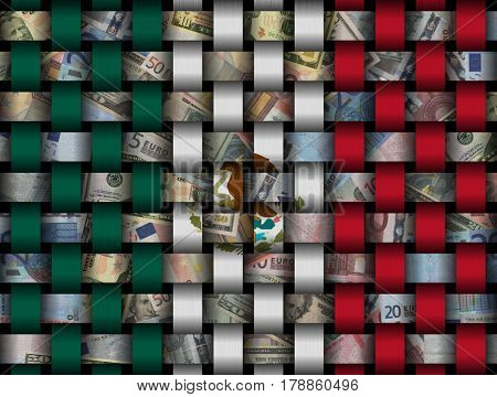 Interwoven Mexican flag and currency 3d illustration
