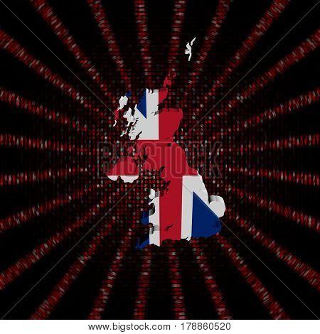 UK map flag on red hex code burst 3d illustration