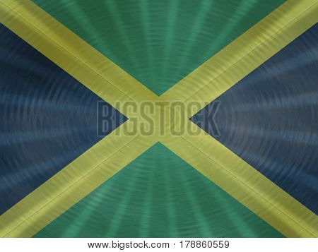 Jamaican flag background with ripples and rays illustration