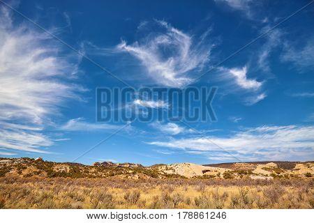 Beautiful Cloudscape Over A Barren Land, Utah, Usa