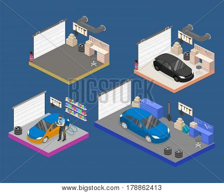 Isometric Flat 3Dinterior Working Place With Tools In Garage.