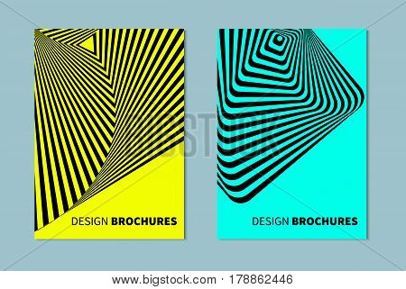 Set of abstract banners in style of opt art optical illusions. Striped distorted background. Blue black and yellow template for cards flyers posters covers. Graphic geometric pattern with stripes. Vector illustration.