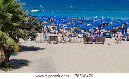 PROTARAS, CYPRUS - 10 OCTOBER 2016: Famous Fig Tree bay beach