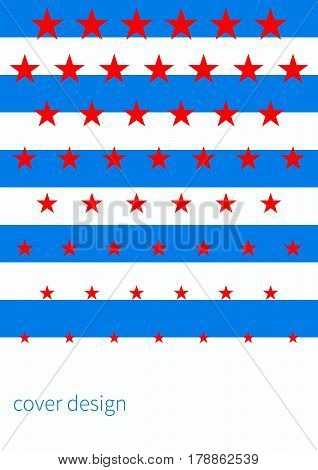 Template for card banner booklet poster with stars and stripes. Striped blue red white cover for brochure flyer. Abstract background pattern. Vector illustration.