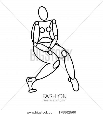 Beautiful lady body silhouette and space text. Vector beauty and hair salon, fashion store or spa logo. Stylized model of a female figure in a linear style.