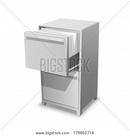 Documents open office box. Closet safe with documents. Vector