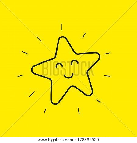Happy star smiley. Hand drawn line icon good day isolated on yellow. Happy flower emoji emoticon. Vector illustration.