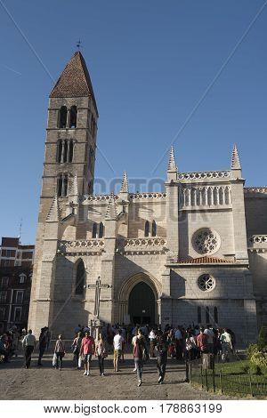 VALLADOLID, SPAIN - JULY 25, 2016: Valladolid (Castilla y Leon Spain): medieval church of Santa Maria la Antigua
