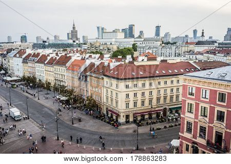 WARSAW, POLAND - SEPTEMBER 27: Cityscape of Warsaw, Old Town and skyscrapers in Warsaw, Poland on September 27, 2016