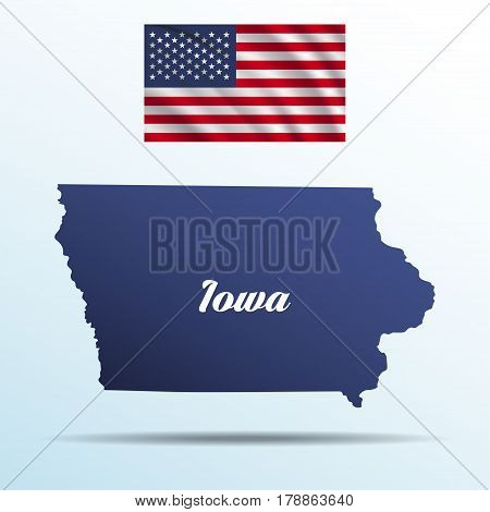 Iowa state with shadow with USA waving flag
