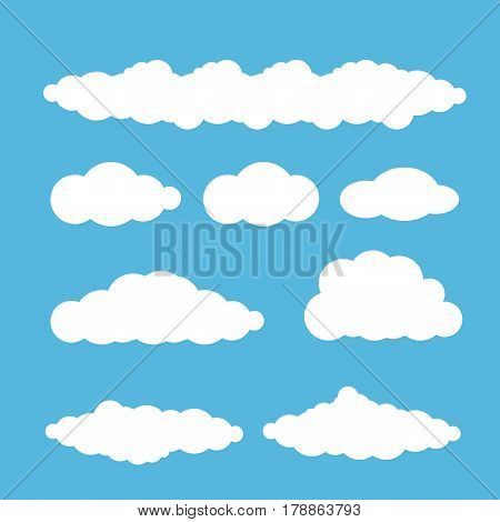 vector white summer clouds set isolated on blue sky background. flat sky cloud icon collection