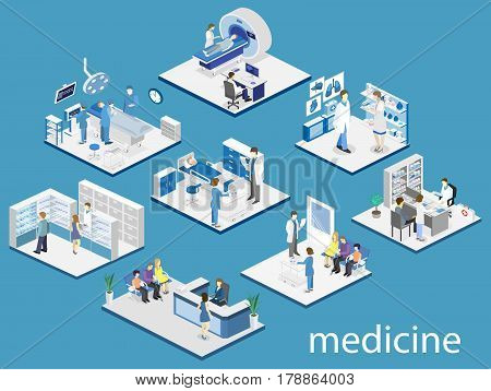 Isometric Flat Interior Hospital Room, Pharmacy, Doctor's Office, Mri, Operating.