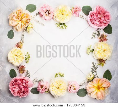Festive flower composition . Overhead view