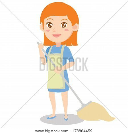 Housewife style design character cartoon vector illustration