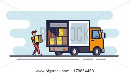 Vector illustration of flat design delivery cargo