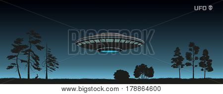 Silhouette of UFO over a night forest. Spaceship of aliens in the sky. Contact with extraterrestrial civilization. Vector illustration