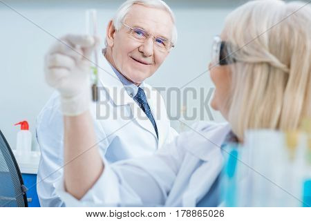 Senior Man Scientist Looking At Test Tube In Colleague Hand