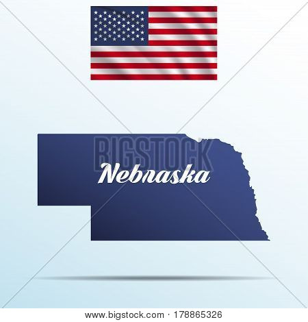 Nebraska state with shadow with USA waving flag