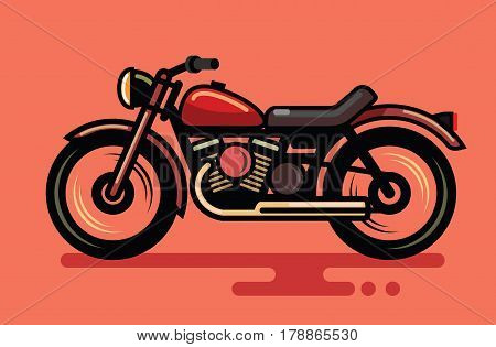 Vector illustration of flat design speed motorcycle