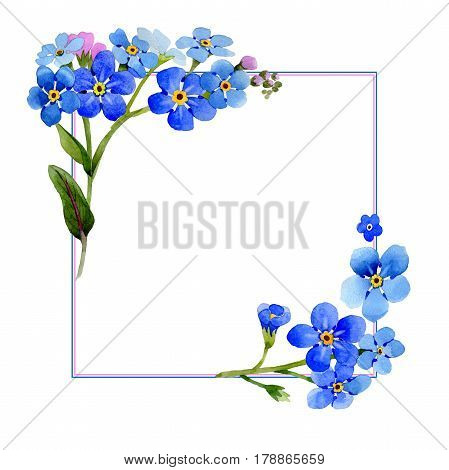 Wildflower myosotis arvensis flower frame in a watercolor style isolated. Full name of the plant: Myosotis arvensis. Aquarelle wild flower for background, texture, wrapper pattern, frame or border.