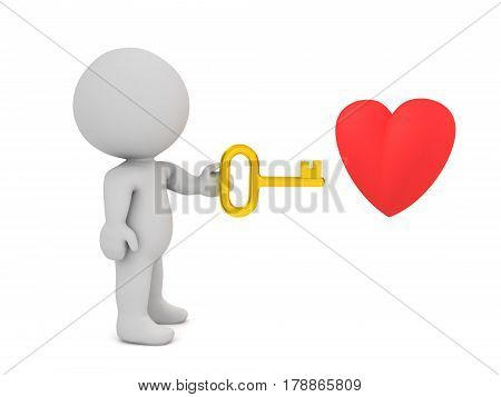 3D character is holding a golden shiny key pointed towards a cartoon heart.
