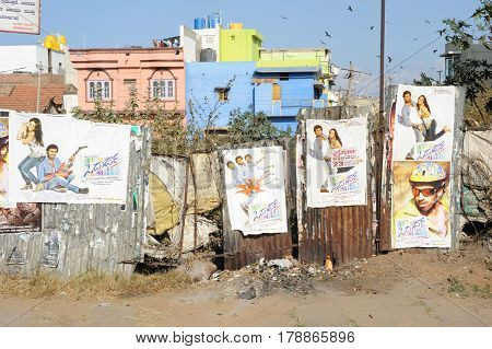 Mysore, India - 24 January 2015: Bollywood posters at Mysore on India
