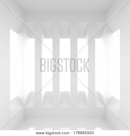 Futuristic empty white corridor with rectangular walls and windows. Abstract architectural interior of the future. 3D Rendering.