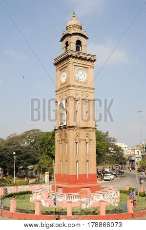 Mysore India - 24 January 2015: the colonial Silver Jubilee clocktower at Mysore on India