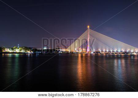 Rama Viii Bridge At Night