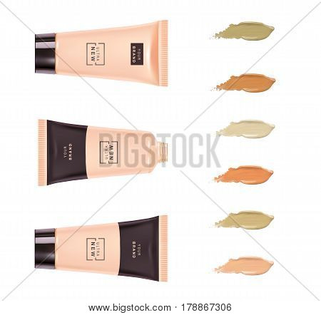 Cosmetic plastic tube. Foundation cream container isolated on white background with smudge smear strokes splashes isolated on white background. Beauty make up product package, vector illustration