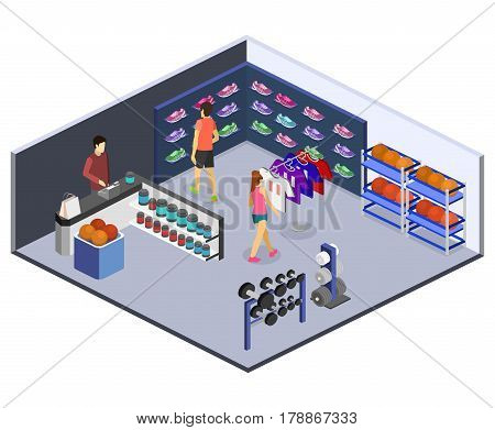 Isometric Vector Goods For The Sports Shop.