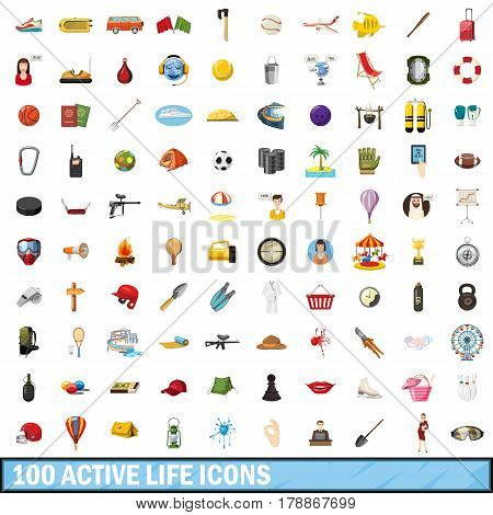100 active life icons set in cartoon style for any design vector illustration