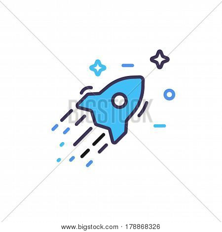 Colored rocket ship icon in flat design. Simple spaceship and stars icon isolated on white background. Vector illustration.