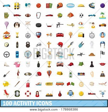 100 active icons set in cartoon style for any design vector illustration
