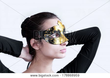 Girl Brunette In Gym Clothes Swimsuit Theatrical Mask