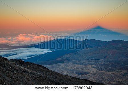 Sunset shadow of Pico del Teide mountain is rare phenomenon, Tenerife