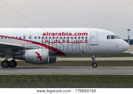Borispol, Ukraine - March 25, 2017: Air Arabia Airbus A320-200 aircraft running on the runway of Borispol International Airport on March 25, 2017. Editorial use only