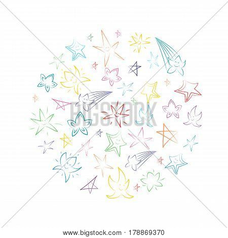 Colorful Hand Drawn Stars Arranged in a Circle. Children Drawings of Doodle Stars. Sketch Style.. Vector Illustration.