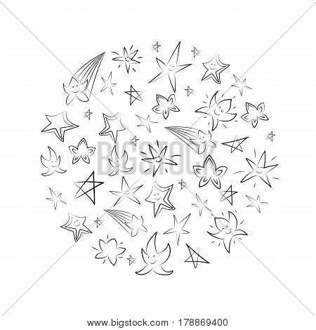 Hand Drawn Set of Stars Arranged in a Circle. Children Drawings of Doodle Stars. Sketch Style. Vector Illustration.
