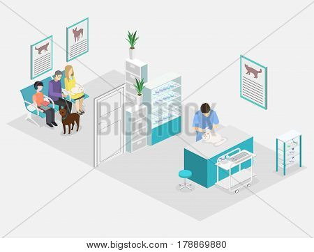 Flat 3D Illustration Isometric Interior Of Veterinary Clinic.