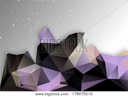 Vector abstract triangulated polygon background with shadow and dots mountain