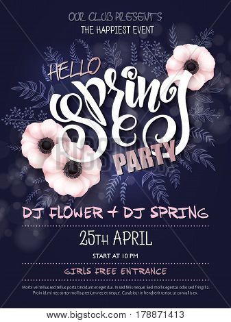 Vector spring party poster with lettering, anemone flowers, doodle branches and luminosity flares.