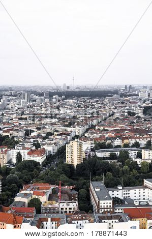 High Contrast Panorama Of Berlin With Bright Sky
